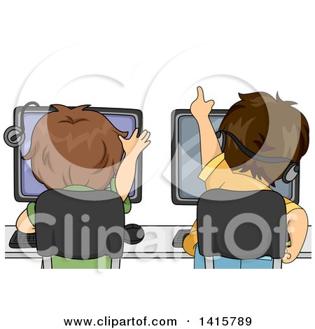 Clipart of a Rear View of Brunette Caucasian Boys Playing Games on Computers - Royalty Free Vector Illustration by BNP Design Studio