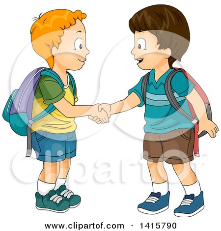 Clipart of Two Boys Meeting and Shaking Hands - Royalty Free Vector Illustration by BNP Design Studio