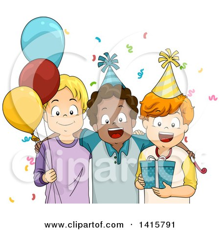 Clipart of a Group of Boys at a Birthday Party - Royalty Free Vector Illustration by BNP Design Studio