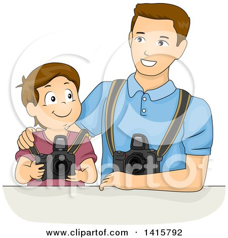Clipart of a Brunette White Boy Learning Photography with His Dad - Royalty Free Vector Illustration by BNP Design Studio