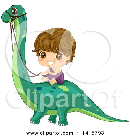 Clipart of a Boy Caveman Riding a Dinosaur - Royalty Free Vector Illustration by BNP Design Studio