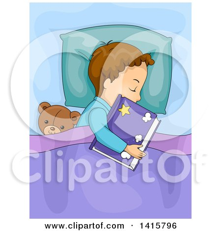 Clipart of a Brunette Caucasian Boy Sleeping with a Book and Teddy Bear - Royalty Free Vector Illustration by BNP Design Studio