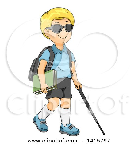 Blond Caucasian Blind School Boy Walking with a Cane Posters, Art Prints