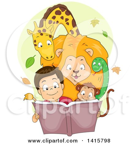 Clipart of a Happy Boy Reading a Story Book with Animals Huddled Around Him - Royalty Free Vector Illustration by BNP Design Studio