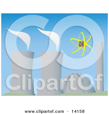 Cooling Towers Evaporating at a Power Plant Clipart Illustration by Rasmussen Images