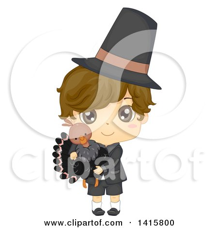 Clipart of a Thanksgiving Pilgrim Boy Holding a Turkey - Royalty Free Vector Illustration by BNP Design Studio