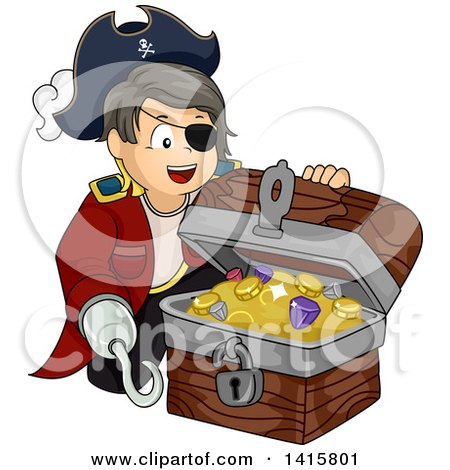 Clipart of a Pirate Boy with a Hook Hand, Opening a Treasure Chest - Royalty Free Vector Illustration by BNP Design Studio