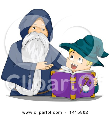 Clipart of a Senior Wizard Teaching a Boy Magic - Royalty Free Vector Illustration by BNP Design Studio