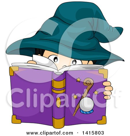 Clipart of a Wizard Boy Reading a Spell Book - Royalty Free Vector Illustration by BNP Design Studio
