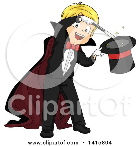 Clipart of a Blond Caucasian Magician Boy Performing a Hat Trick - Royalty Free Vector Illustration by BNP Design Studio