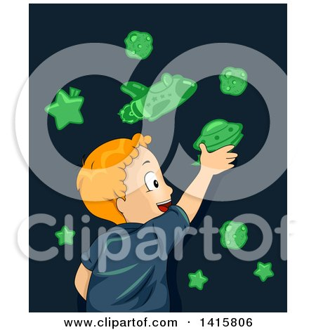 Clipart of a Red Haired Cacuasian Boy Applying Glow in the Dark Space Stickers on His Wall - Royalty Free Vector Illustration by BNP Design Studio