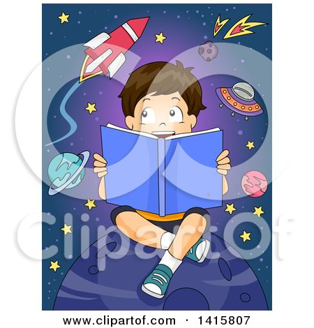 Clipart of a Brunette Caucasian Boy Reading a Book About Astronomy - Royalty Free Vector Illustration by BNP Design Studio