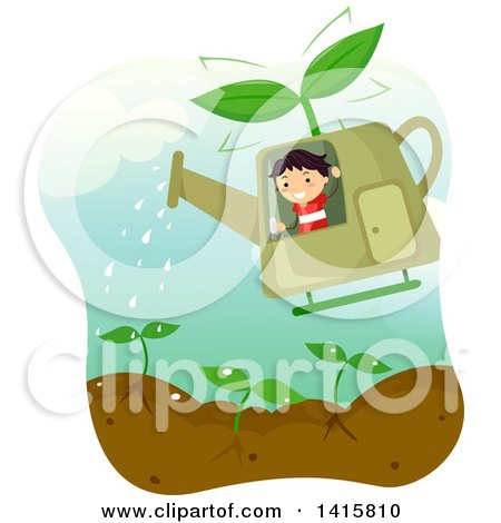 Clipart of a Boy Waving and Flying a Watering Can Helicopter over a Garden - Royalty Free Vector Illustration by BNP Design Studio