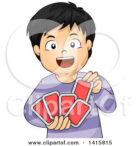 Clipart of a Happy Asian Boy Playing with Cards - Royalty Free Vector Illustration by BNP Design Studio