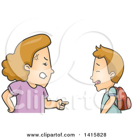 Clipart of a Cartoon Caucasian Mother Lecturing Her Son - Royalty Free Vector Illustration by BNP Design Studio