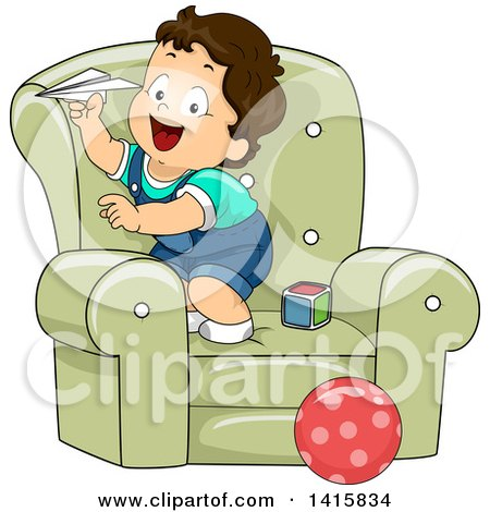 Clipart of a Brunette White Toddler Boy on a Chair, Playing with a Paper Plane - Royalty Free Vector Illustration by BNP Design Studio