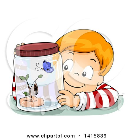 Clipart of a Red Haired White Boy Watching a Butterfly in Its Different Stages - Royalty Free Vector Illustration by BNP Design Studio