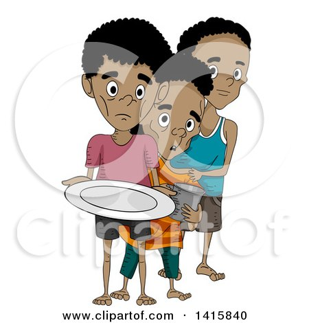 Clipart of Malnourished Boys in Line for Food - Royalty Free Vector Illustration by BNP Design Studio