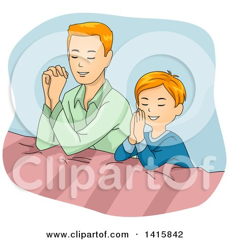 Clipart of a Red Haired Caucasian Father and Son Praying Together - Royalty Free Vector Illustration by BNP Design Studio
