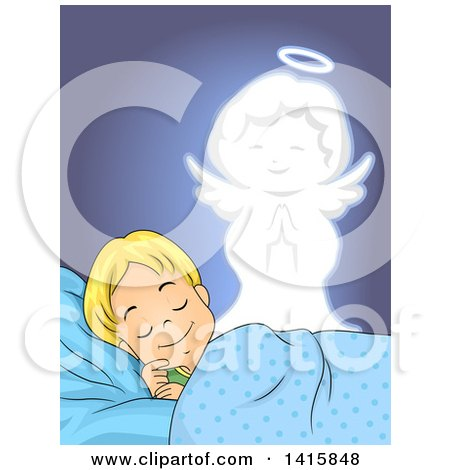 Clipart of a Blond Caucasian Boy Sleeping, a Guardian Angel Watching over Him - Royalty Free Vector Illustration by BNP Design Studio