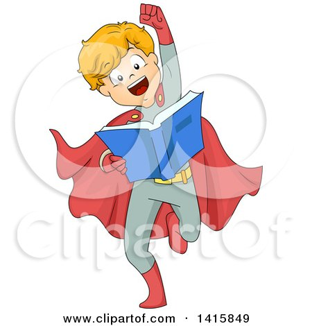 Clipart of a Boy Wearing a Super Hero Costume, Pretending to Fly and Reading a Book - Royalty Free Vector Illustration by BNP Design Studio
