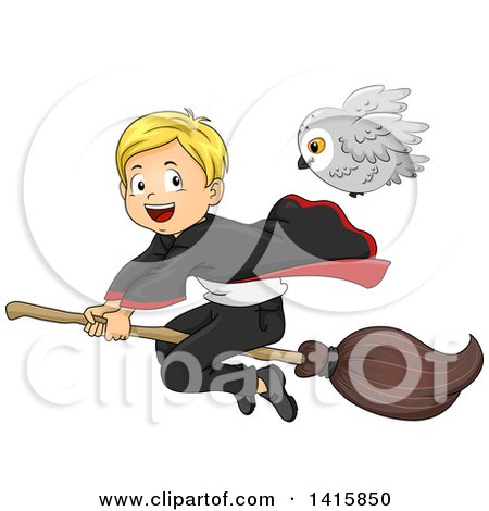 Clipart of a Wizard Boy Flying on a Broomstick with His Owl Familiar - Royalty Free Vector Illustration by BNP Design Studio