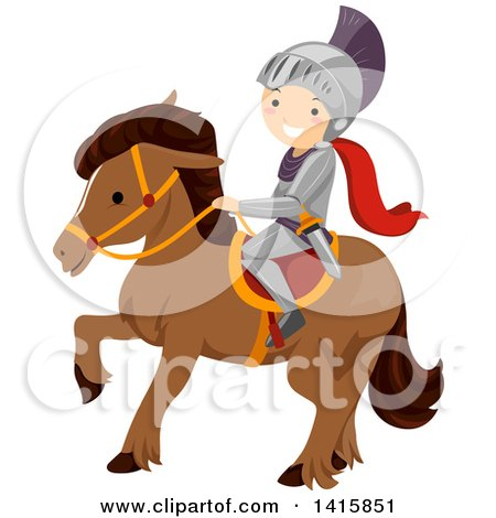 Clipart of a Knight Boy Riding Horseback - Royalty Free Vector Illustration by BNP Design Studio