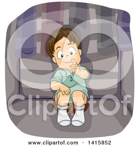 Clipart of a Boy Playing Hide and Go Seek and Hiding in a Closet - Royalty Free Vector Illustration by BNP Design Studio