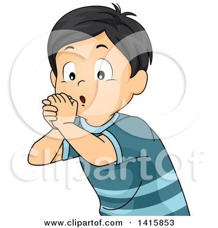 Clipart of a Boy Using His Hands and Playing an Imaginary Flute - Royalty Free Vector Illustration by BNP Design Studio