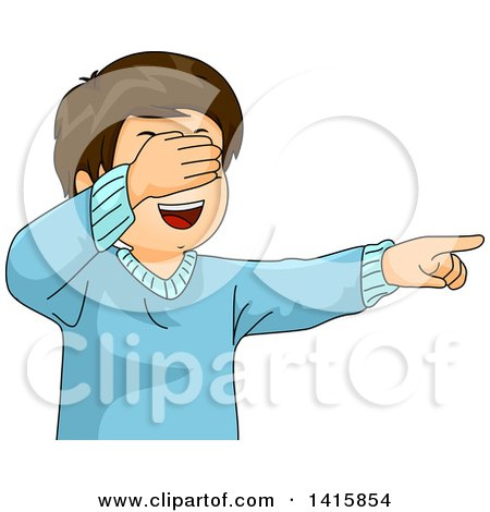 Clipart of a Happy Caucasian Boy Covering His Eyes and Pointing While Playing Hide and Seek - Royalty Free Vector Illustration by BNP Design Studio