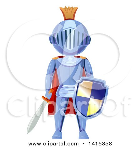 Clipart of a Fully Armored Knight Holding a Sword and Shield - Royalty Free Vector Illustration by BNP Design Studio