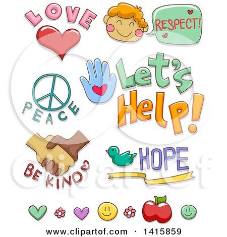 Clipart of Kindness and Charity Designs - Royalty Free Vector Illustration by BNP Design Studio