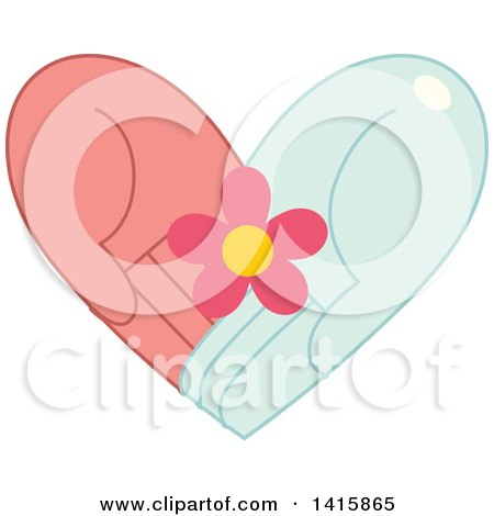 Clipart of a Charity Heart of Hands Holding a Flower - Royalty Free Vector Illustration by BNP Design Studio