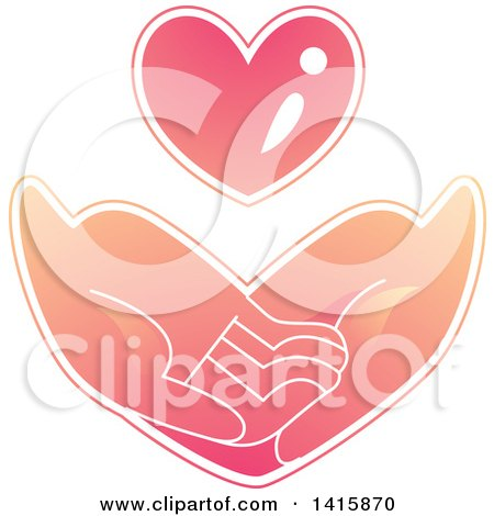 Clipart of a Pair of Hands Asking for Basic Needs, like Love and Care - Royalty Free Vector Illustration by BNP Design Studio