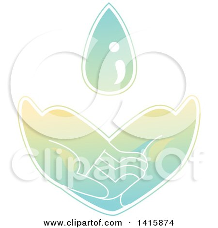 Clipart of a Pair of Hands Asking for Basic Needs, Such As Water - Royalty Free Vector Illustration by BNP Design Studio