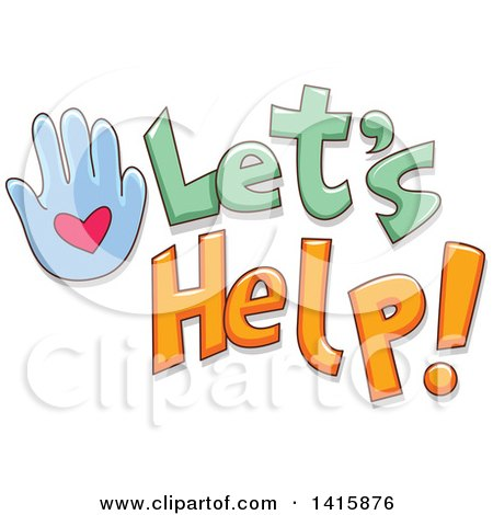 Clipart of a Hand and Lets Help Text - Royalty Free Vector Illustration by BNP Design Studio