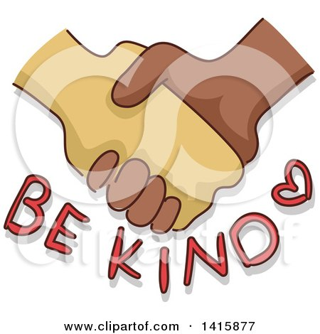Clipart of Hands Shaking over Be Kind Text - Royalty Free Vector Illustration by BNP Design Studio