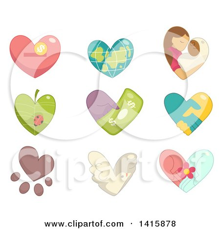 Clipart of Charity Hearts - Royalty Free Vector Illustration by BNP Design Studio