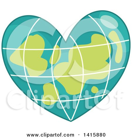 Clipart of a Charity Heart of a Grid Earth - Royalty Free Vector Illustration by BNP Design Studio
