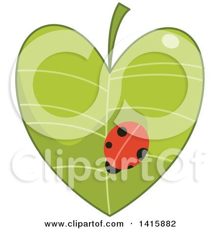 Clipart of a Charity Heart with a Ladybug on a Leaf - Royalty Free Vector Illustration by BNP Design Studio