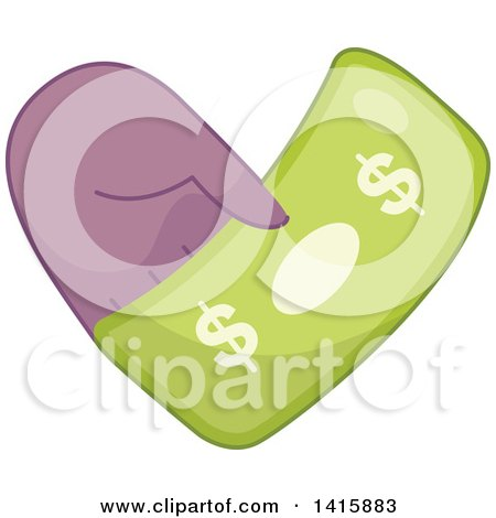Clipart of a Charity Heart of a Hand Holding Cash - Royalty Free Vector Illustration by BNP Design Studio