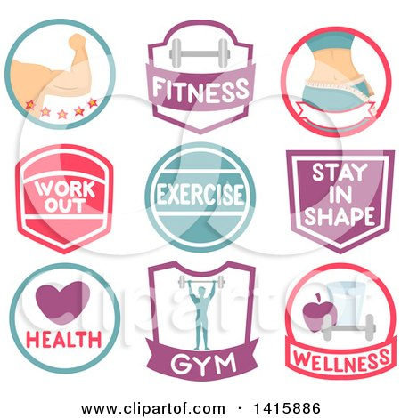 Clipart of Fitness Icons and Labels - Royalty Free Vector Illustration by BNP Design Studio