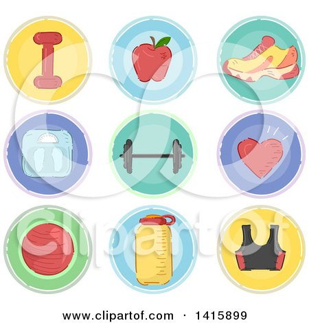 Clipart of Sketched Round Fitness Icons - Royalty Free Vector Illustration by BNP Design Studio