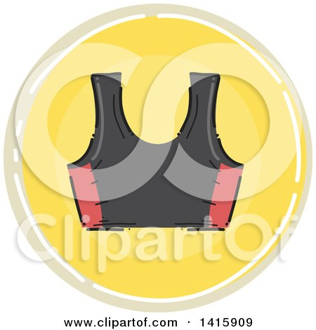 Clipart of a Sketched Round Fitness Sports Bra Icon - Royalty Free Vector Illustration by BNP Design Studio