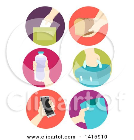 Clipart of Round Icons of Hands Donating Food and Items - Royalty Free Vector Illustration by BNP Design Studio