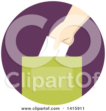 Clipart of a Round Icon of a Hand Donating Money and Putting It in a Box - Royalty Free Vector Illustration by BNP Design Studio