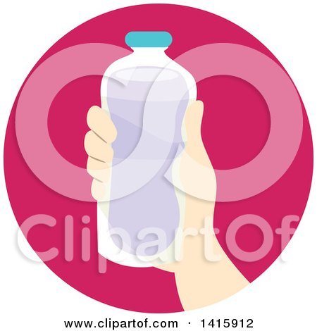 Clipart of a Round Icon of a Hand Donating a Bottled Beverage - Royalty Free Vector Illustration by BNP Design Studio