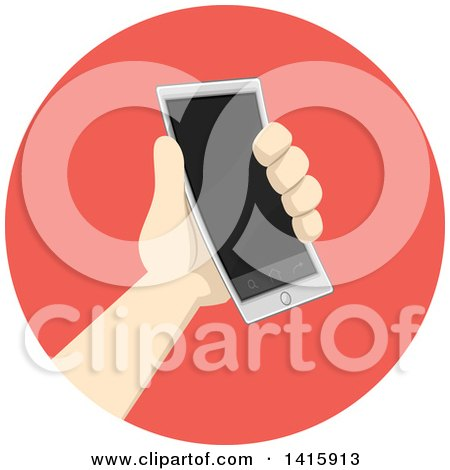 Clipart of a Round Icon of a Hand Donating or Holding a Smart Phone - Royalty Free Vector Illustration by BNP Design Studio