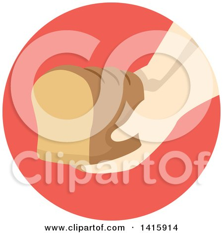 Clipart of a Round Icon of a Hand Donating a Loaf of Bread - Royalty Free Vector Illustration by BNP Design Studio
