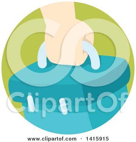Clipart of a Round Icon of a Hand Carrying a Box - Royalty Free Vector Illustration by BNP Design Studio